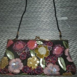 Valerie Stevens Floral Multicolored Beaded Purse
